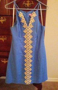 Lilly Pulitzer blue embroidered dress